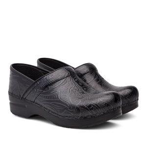Dansko Professional Clog In Black Tooled Leather
